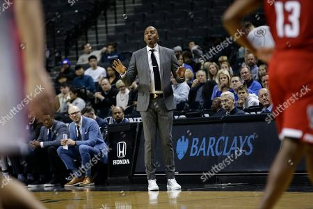 Memphis head coach Penny Hardaway during the first half of an NCAA college basketball game against North Carolina State in the Barclays Classic, in New York