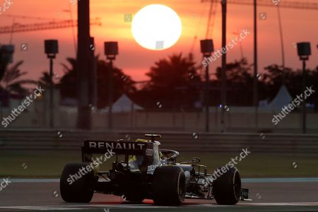 Renault driver Daniel Ricciardo of Australia steers his car during the second free practice at the Yas Marina racetrack in Abu Dhabi, United Arab Emirates, . The Emirates Formula One Grand Prix will take place on Sunday
