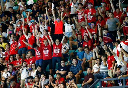 Fans of Singapore cheer during the SEA Games 2019 men's Water Polo round robin match between the Philippines and Singapore at the New Clark City Aquatics Center near Capas, Philippines, 29 November 2019.