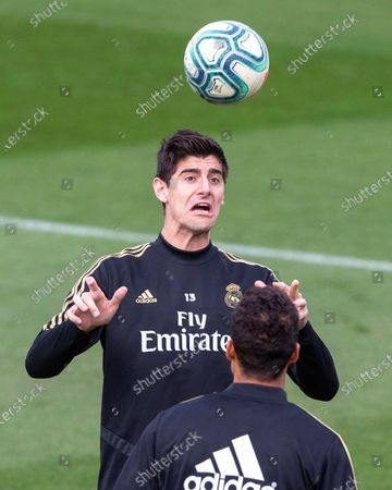 Stock Picture of Real Madrid's goalkeeper Thibaut Courtois performs during his team's training session at Valdebebas sports city in Madrid, Spain, 29 November 2019. Real Madrid will face Deportivo Alaves in their Spanish La Liga socer match on 30 November 2019.