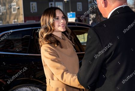 Princess Sofia of Sweden arrives to the inauguration of the Alvdalen new school