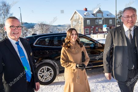 Princess Sofia of Sweden is welcomed by Municipality Councilor Kjell Tenn (l) and Municipality Executive Stefan Linde to the inauguration of the Alvdalen new school