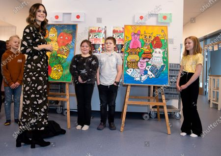 Stock Picture of Princess Sofia of Sweden is welcomed by students to the inauguration of the Alvdalen new school