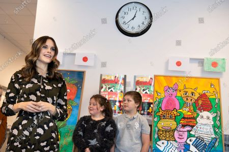 Princess Sofia of Sweden is welcomed by students to the inauguration of the Alvdalen new school