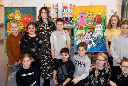 Stock Image of Princess Sofia of Sweden is welcomed by students to the inauguration of the Alvdalen new school