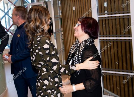 Princess Sofia of Sweden meets her old maths teacher Ann Nilsson at the inauguration of the Alvdalen new school