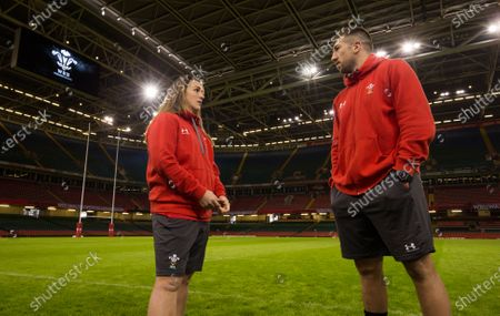 Wales Womens Captain Siwan Lillicrap and Wales' captain Justin Tipuric at the Principality Stadium ahead of their matches against the Barbarians