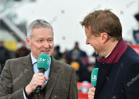 Stock Picture of Rory Bremner, comedian, talking to ITV presenter Ed Chamberlin at the course.