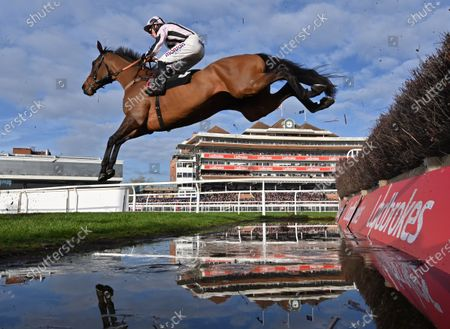 Danny Whizzbang (Harry Cobden) takes the water jump before going on to win The Ladbrokes John Francome Novices Steeple Chase.