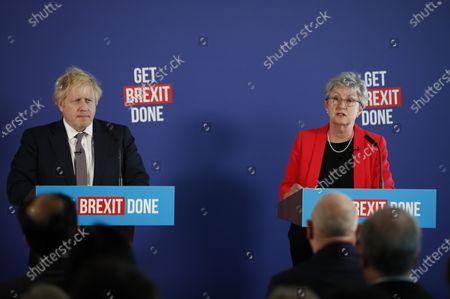 Former Labour MP Gisela Stuart attends a press conference with Prime Minister Boris Johnson