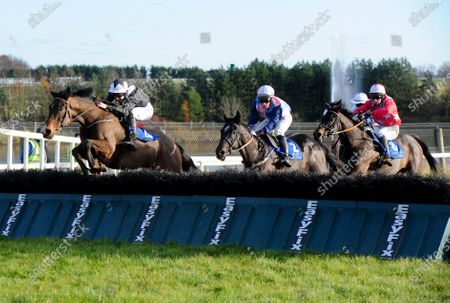 Stock Photo of LIMERICK PROSECUTION and Liam McKenna (black) jump the last to win the Limerick Racecourse Rated Novice Hurdle from THE SHUNTER (navy sleeves).