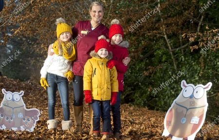 NHS 24 Nurse Lauren Kennedy and her three children, Eva, James and Callum