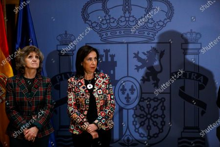Acting Spanish Foreign Affairs Minister Josep Borrell (shadow) delivers his farewell speech next to his substitute, acting Defense Minister Margarita Robles (2-L), and acting Health Minister, Maria Luisa Carcedo (L), during a ceremony at the Foreign Affairs Ministry, in Madrid, Spain, 29 November 2019. Borrell is to be the next High Representative of the EU for Foreign Affairs and Security Policy, and Robles will be the Defense and Foreign Affairs Minister from next 01 December.
