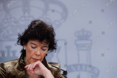 Stock Image of Spanish acting Education Minister and Government's spokeswoman Isabel Celaa addresses a press conference after the weekly Cabinet Meeting at Moncloa Presidential Palace in Madrid, Spain, 29 November 2019.