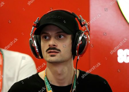 Italian singer Fabio Rovazzi attends the second free practice at the Yas Marina racetrack in Abu Dhabi, United Arab Emirates, . The Emirates Formula One Grand Prix will take place on Sunday