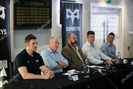Interim Captain Dan Lydiate, Chairman Rob Davies, Managing Director Andrew Millward, Forwards Coach Carl Hogg and Rugby General Manager Dan Griffiths.