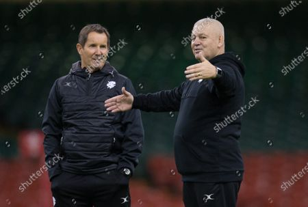 Stock Photo of Barbarians Head coach Warren Gatland, right, with Robbie Deans during the Barbarians Captain's Run at the Principality Stadium ahead of their match against Wales
