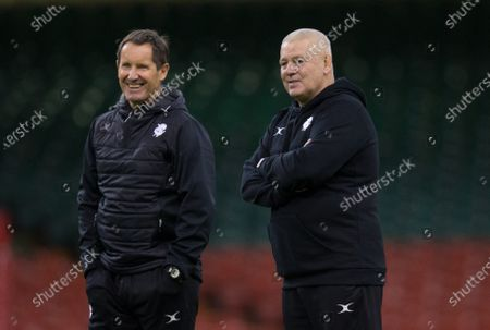 Stock Picture of Barbarians Head coach Warren Gatland, right, with Robbie Deans during the Barbarians Captain's Run at the Principality Stadium ahead of their match against Wales