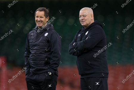 Barbarians Head coach Warren Gatland, right, with Robbie Deans during the Barbarians Captain's Run at the Principality Stadium ahead of their match against Wales