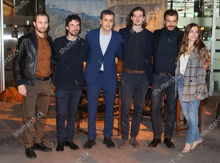 Stock Photo of Giorgio Marchesi, Francesco Montanari, producer Luca Bernabei, Daniel Sharman, Raniero Monaco Di Lapio and Aurora Ruffino