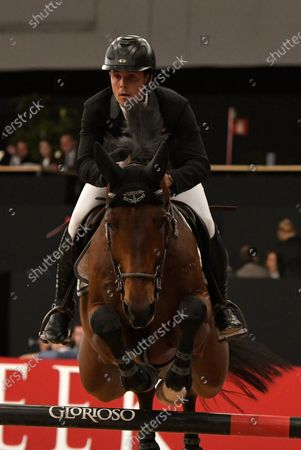 Spanish rider Sergio Alvarez Moya in action during the Estrella Damm Jump Contest in the framework of the Madrid Horse Week at IFEMA in Madrid, Spain, 29 November 2019. The Madrid Horse week runs from 29 November to 01 December 2019 and will include the Longines FEI Dressage World CupTM, organized by the International Equestrian Federation.