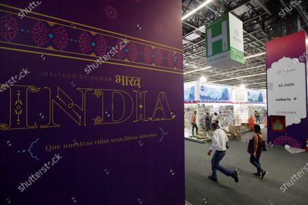 Stock Image of General view of the preparations for the International Book Fair in Guadalajara, Jalisco, Mexico, 29 November 2019. The Guadalajara International Book Fair (FIL) begins this Saturday with the presence of the Peruvian Nobel Mario Vargas Llosa, the master of graphic novel Frank Miller and the cultural delegation of India, the guest country in this 33rd edition. Between November 30 and December 8, the world's largest Hispanic literature festival will host nearly 800 writers from 37 countries in the capital of the western Mexican state of Jalisco.