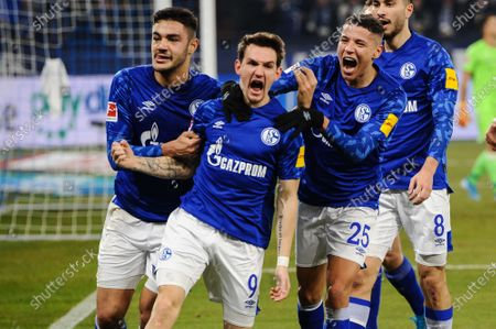 of  Benito Raman (FC Schalke 04 #9) and  Suat Sedar (FC Schalke 04 #8) and Amine Harit (FC Schalke 04 #25) and Ozan Kabak (FC Schalke 04 #4), FC Schalke 04 - 1 FC Union Berlin, Bundesliga, 29.11.2019 DFL REGULATIONS PROHIBIT ANY USE OF PHOTOGRAPHS AS IMAGE SEQUENCES AND/OR QUASI-VIDEO