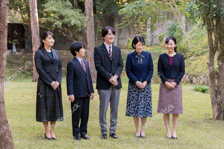 Akishino, Kiko, Mako, Kako, Hisahito. In this Nov.15, 2019, photo provided by the Imperial Household Agency of Japan; Japan's Crown Prince Akishino, center, poses with his wife Crown Princess Kiko, second right, and their children, Princess Mako, left, Princess Kako, right, and Prince Hisahito, second left, at their residence in Tokyo. Prince Akishino, Emperor Naruhito's brother, celebrated his 54th birthday on Nov. 30