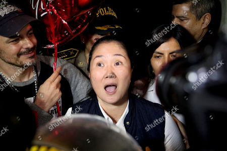Keiko Fujimori leaves the Chorillos prison in Lima, Peru, . The Constitutional Tribunal narrowly approved a habeas corpus request to free Fujimori from detention while she is investigated for alleged accusations she accepted money from Brazilian construction giant Odebrecht