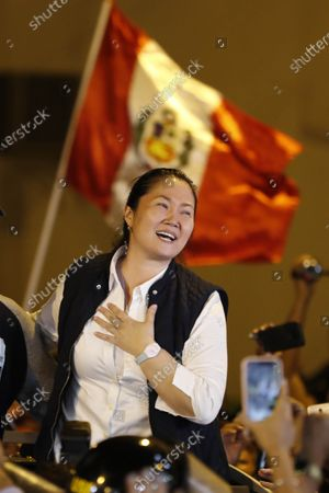 Peruvian politician Keiko Fujimori speaks to the media as she leaves the jail where she was under preventive detention for almost thirteen months, in Lima, Peru, 29 November 2019. The daughter of former president Alberto Fujimori (1990-2000) will face the rest of the investigation that follows her in the case of Lava Jato corruption for alleged money laundering in the financing of her electoral campaigns, thanks to a controversial ruling by the Constitutional Court which annulled pretrial detention.