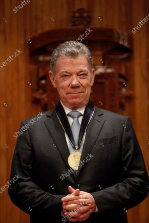 Former Colombian President Juan Manuel Santos receives a honoris causa doctorate in Guadalajara, Mexico, 29 November 2019. During the ceremony, Santos stated that the peace process between his government and the guerrilla of the Revolutionary Armed Forces of Colombia (FARC) was 'a process of empathy', that achieved reparations for the victims of the conflict.