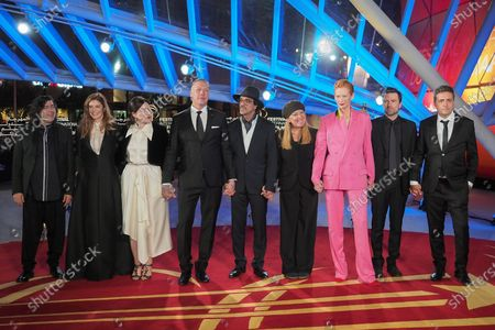 The Jury (L-R) Chiara Mastroianni, Ali Essai, Rebecca Zlotowski, Mikael Persbrandt, Kleber Mendonca Filho, Andrea Arnold, Tilda Swinton, David Michod and Atiq Rahimi