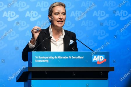 Stock Picture of Alternative for Germany party (AfD) faction co-chairwoman in the German parliament Bundestag and observer at the federal chair board Alice Weidel speaks during her campaign speech for the office of deputy chair during the party convention of the German right-wing 'Alternative for Germany' ('Alternative fuer Deutschland' AfD) in Braunschweig, northern Germany 30 November 2019. The AfD holds its convention in Brunswick on 30 November and 01 December.