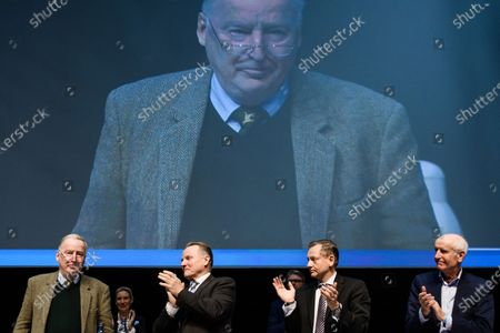 Stock Image of Alternative for Germany party (AfD) co-chairman and faction co-chairman in the German parliament Bundestag Alexander Gauland (L) receives applause by Alternative for Germany party (AfD) deputy chairman Georg Pazderski (2-L), Alternative for Germany party (AfD) deputy chairman Kay Gottschalk and Alternative for Germany party (AfD) deputy chairman Albrecht Glaser during the party convention of the German right-wing 'Alternative for Germany' ('Alternative fuer Deutschland' AfD) in Braunschweig, northern Germany 30 November 2019. The AfD holds its convention in Brunswick on 30 November and 01 December.