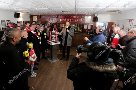 The BBCs Dan Walker interviews Kingstonian Officials during Kingstonian vs AFC Fylde, Emirates FA Cup Football at King George's Field on 30th November 2019