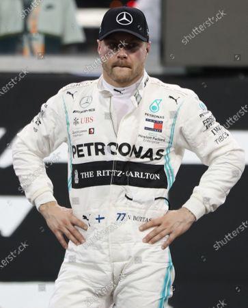 Finnish Formula One driver Valtteri Bottas of Mercedes AMG GP reacts after the qualifying session of Abu Dhabi Formula 1 Grand Prix 2019 in Abu Dhabi, United Arab Emirates, 30 November 2019. The Formula One Grand Prix of Abu Dhabi will take place on 01 December 2019.