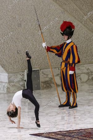 Young dancer, Jorge Garcia Lamelas (L), performs during an audience of the 'Design for Change' group in front of Pope Francis (unseen) in Vatican, 30 November 2019. 'Design for Change', DFC, is a world-wide movement of change - by and of children. The movement is active in 44 countries and impacts the lives of more than 65,000 teachers and some 2.2 million children.