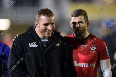 Stock Image of Sam Underhill of Bath Rugby speaks with Elliot Daly of Saracens after the match