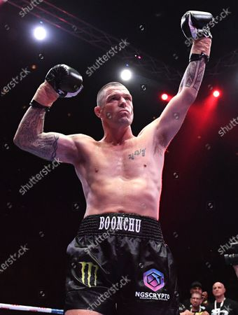 Australia's John-Wayne Parr reacts after winning in the 'Worlds Collide' boxing event against Anthony Mundine at the Brisbane Convention and Exhibition Centre in Brisbane, Queensland, Australia, 30 November 2019. Mundine has lost by a majority split decision to Parr.