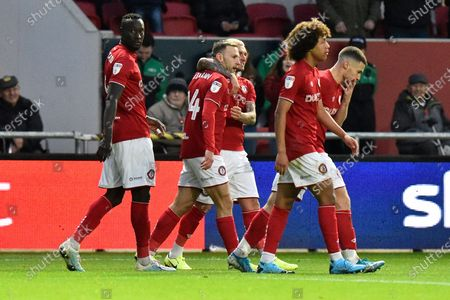 Goal - Andreas Weimann (14) of Bristol City  celebrates after he scores a goal to make the score 5-1 during the EFL Sky Bet Championship match between Bristol City and Huddersfield Town at Ashton Gate, Bristol