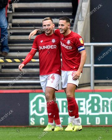 Stock Picture of Goal - Josh Brownhill (8) of Bristol City celebrates after he scores a goal to give a 1-0 lead to the home team with Andreas Weimann (14) of Bristol City during the EFL Sky Bet Championship match between Bristol City and Huddersfield Town at Ashton Gate, Bristol