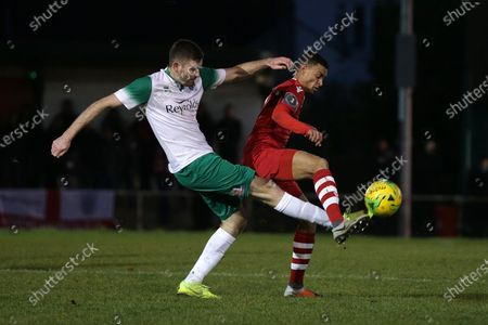 George Saunders of Hornchurch and James Crane of Bognor during Hornchurch vs Bognor Regis Town, BetVictor League Premier Division Football at Hornchurch Stadium on 30th November 2019