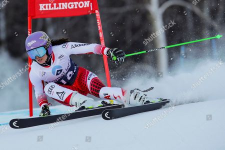 Austria's Anna Veith competes during an alpine ski, women's World Cup giant slalom in Killington, Vt