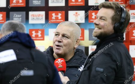 Barbarians head coach Warren Gatland is interviewed at the end of the match