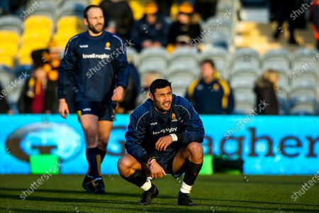 Stock Picture of Melani Nanai and Chris Pennell of Worcester Warriors