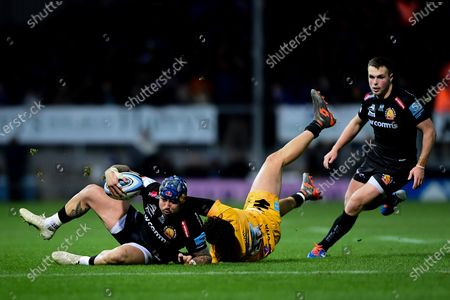 Stock Picture of Jack Nowell of Exeter Chiefs is marked by Jacob Umaga of Wasps