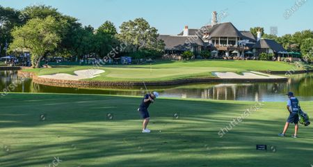 Branden Grace of South Africa plays a shot from the drop zone to the 18th green during the third day of the Alfred Dunhill Championship at the Leopard Creek Golf Course in Nelspruit, South Africa, 29 November 2019.