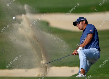 epa08035271 Pablo Larrazabal of Spain hits from the bunker on the 15th hole during the third day of the Alfred Dunhill Championship at the Leopard Creek Golf Course in Nelspruit, South Africa, 29 November 2019.