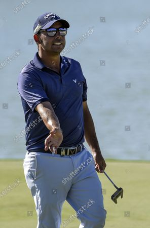 Pablo Larrazabal of Spain on the 15th green during the third day of the Dunhill Championship at the Leopard Creek Golf Course in Nelspruit, South Africa, 30 November 2019.