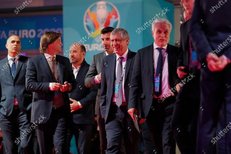 Former Portuguese soccer player Luis Figo and Head coach of Portugal Fernando Santos arrive for the UEFA EURO 2020 final draw in Bucharest, Romania, 30 November 2019.